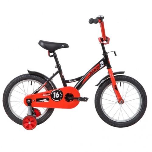 Велосипед 16 Novatrack Strike черный-красный, тормоз нож, крылья корот, полная защита цепи