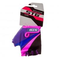 Перчатки STG  Х87909-ХC  летние  с защитной прокладкой,застежка на липучке фиолетовые/чёрные/розовые