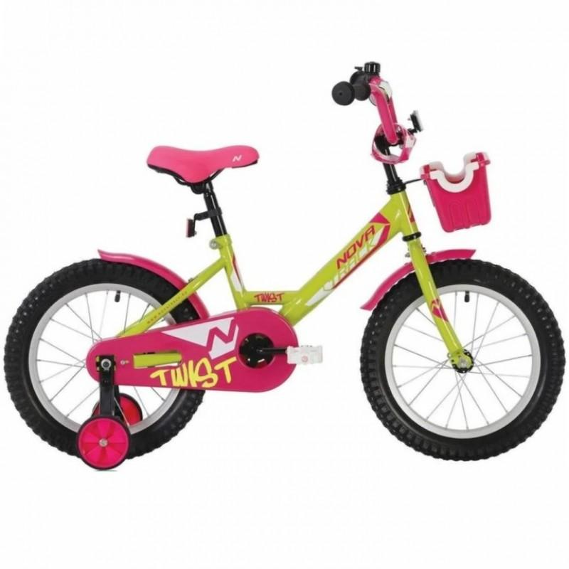 Велосипед 12 Novatrack Twist зелёный/розовый, тормоз нож., корот.крылья, полная защита цепи, перед.корзина