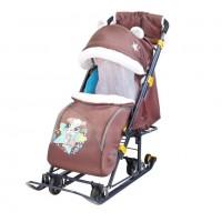 Санки коляска комбинированная Ника детям 7-6 медвежонок коричневый