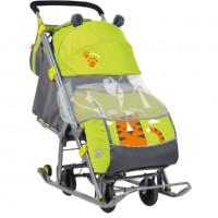 Санки коляска комбинированная «Ника детям 7»  рис. с тигром лимонный НД7