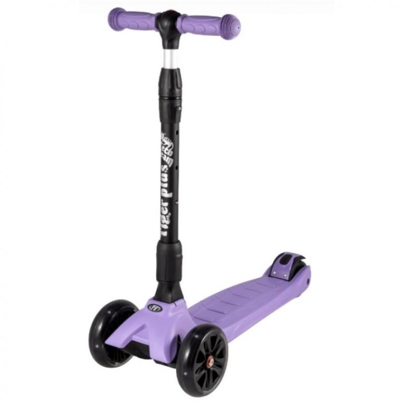Детский самокат Tech Team TIGER Plus 2020 (фиолетовый) со светящимися колесами 1/4 (Р)