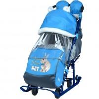 Санки коляска комбинированная «Ника детям 7-2» new светоотражающие элементы с кроликом васильковый НД7-2