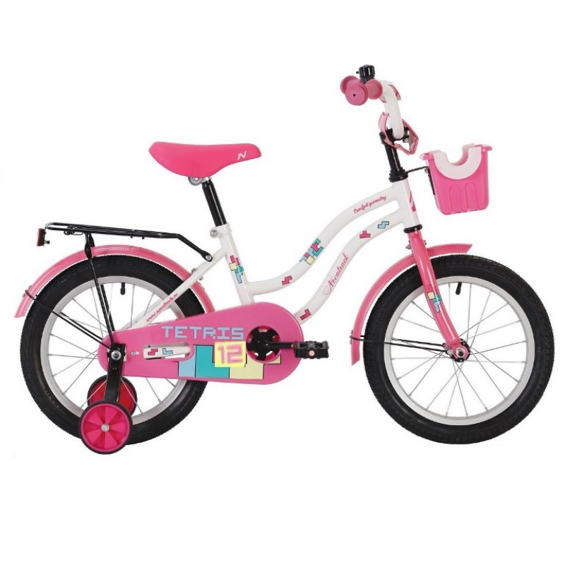 Велосипед 12 Novatrack Tetris розовый, АКЦИЯ!!! тормоз ножной,крылья цвет.,багажник чёрный., перед.корзина, полная защита цепи