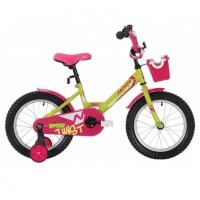 Велосипед 14 Novatrack Twist зеленый, АКЦИЯ!!! тормоз ножной, крылья корот, полная защ.цепи, корзина