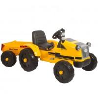 Детский электромобиль трактор 49922 с прицепом жёлтый
