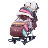 Санки коляска комбинированная Ника детям 7-7 скандинавский розовый