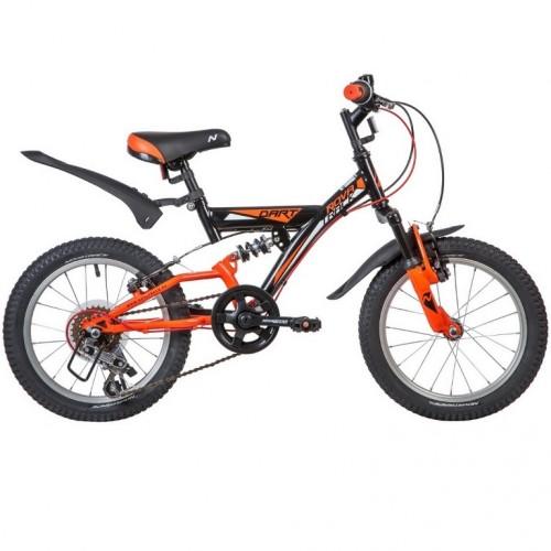 Велосипед 16  Новатрек 16SS5V.DART.BK20 ,5 скоростей, чёрный ,Microshift , алюм. обода , амортизатор зад/передний