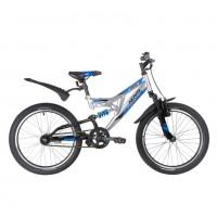Велосипед 20 Novatrack SHARK серебристый, сталь, 1 скор., V-brake