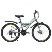 Велосипед 24 Avenger F243D, серый/зеленый неон ,16
