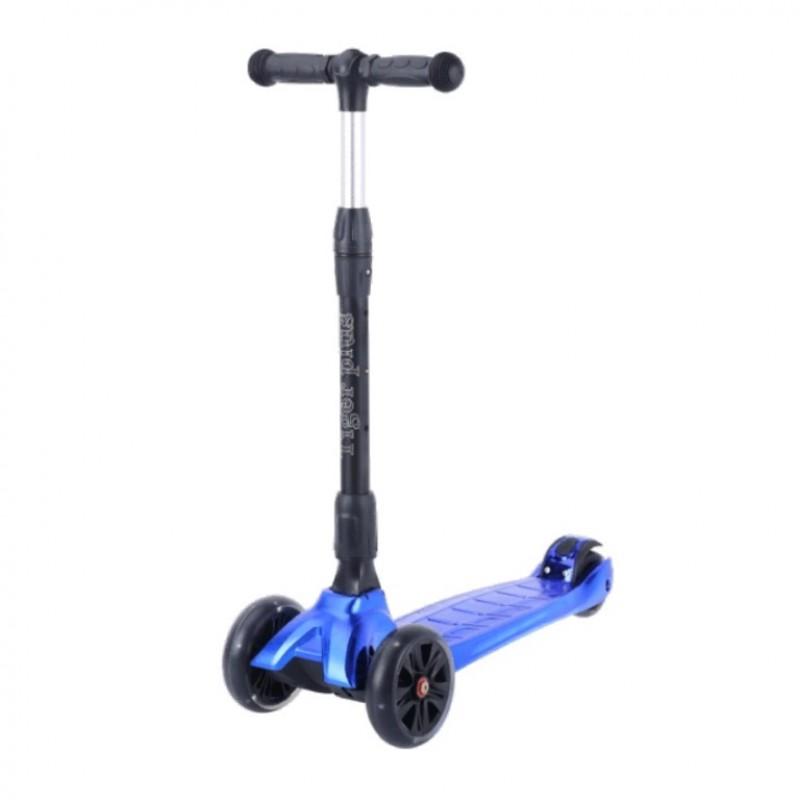 Детский самокат Tech Team TIGER Plus 2021 (синий металлик) со светящимися колесами 1/4 (Р)
