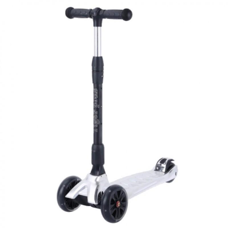Детский самокат Tech Team TIGER Plus 2021 (белый металлик) со светящимися колесами АКЦИЯ!!!
