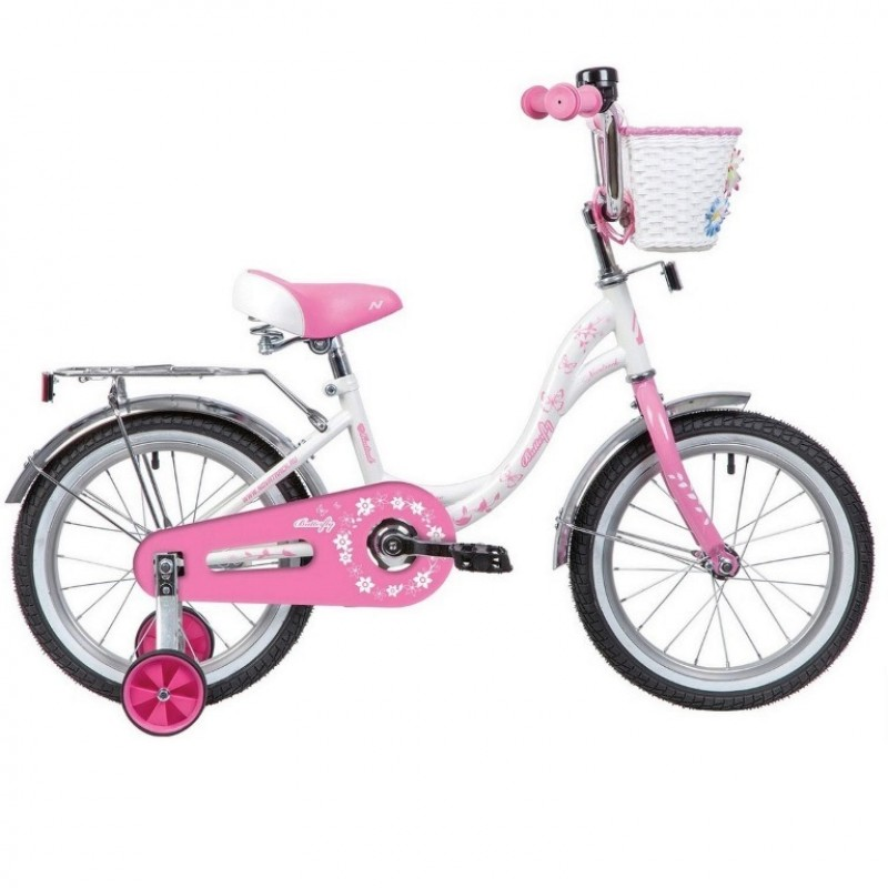 Велосипед 16 Novatrack BUTTERFLY.WPN20 белый-розовый
