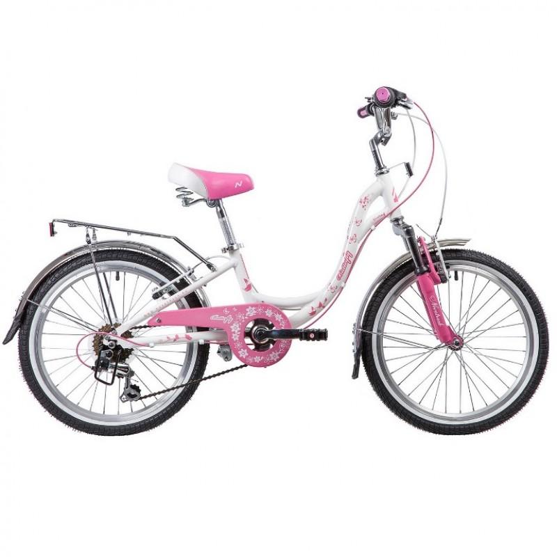 Велосипед 20 Novatrack SH6V.BUTTERFLY.PN9  бело-розовый
