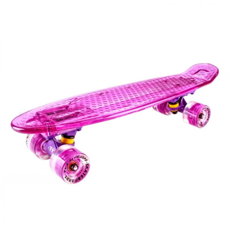 Скейтборд  ТТ  Transparent light 22  (6) TLS-403  pink со свет.