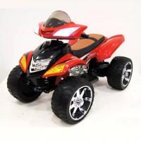 Электроквадроцикл детский 33606 красный 12в резиновые колеса,кожанное сиденья