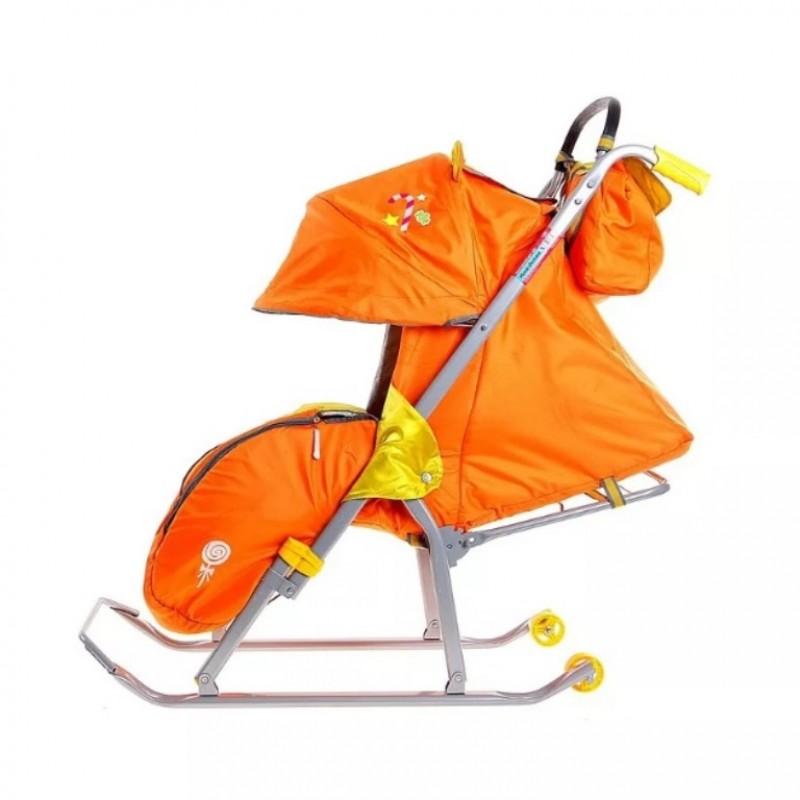 Санки коляска «Ника детям 5» с мех.спин. лёж оранж.