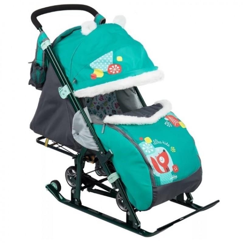 Санки коляска комбинированная Ника детям 7-6  Лисичка изумруд
