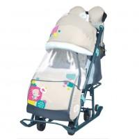 Санки коляска комбинированная «Ника детям 7-2» светоотражающие элементы new бежевый Мишка