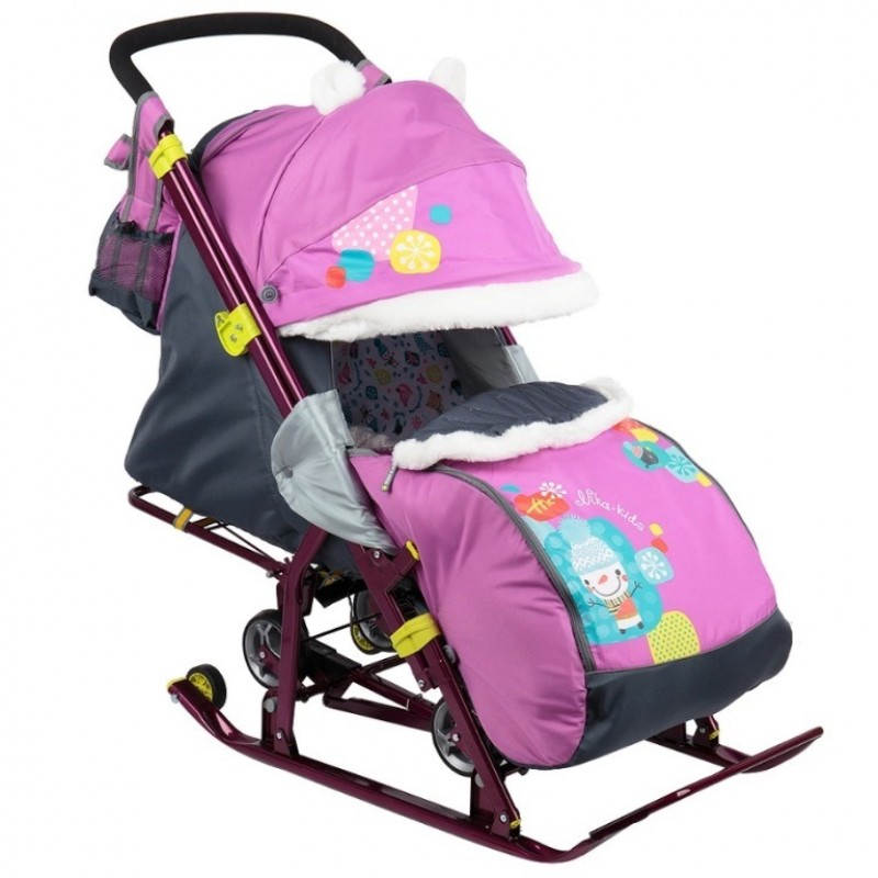 Санки коляска комбинированная Ника детям 7-6 снеговик орхидея
