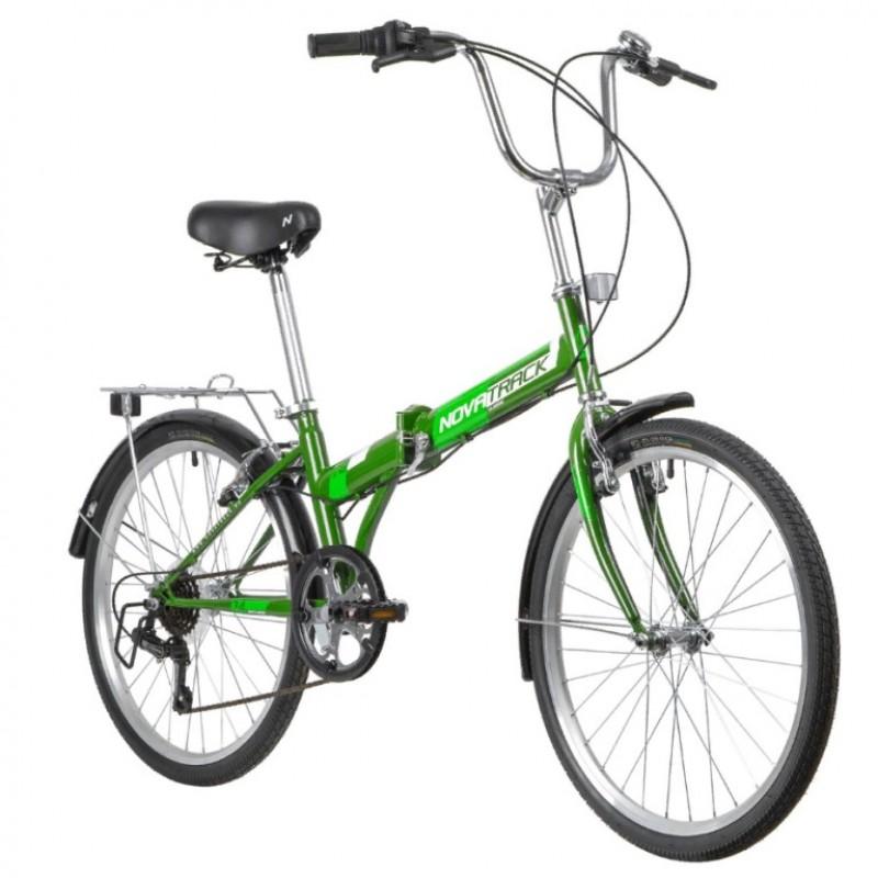 Велосипед 24 Novatrack NFTG6SV.GN21 складной, 6-и скоростной,цвет: зелёный