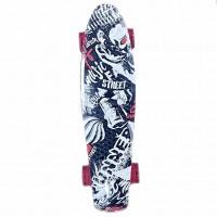 Скейтборд  Explore Ecoline REBEL/6 красный Граффити черна-белые колеса краснные