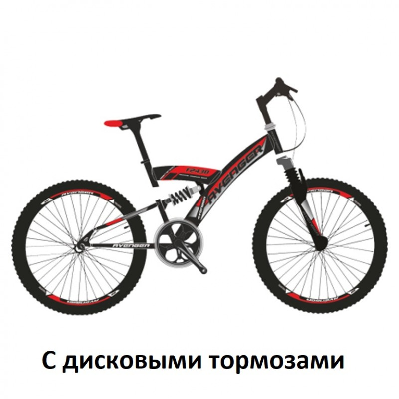 Велосипед 24 Avenger F243D, чёрный/красный