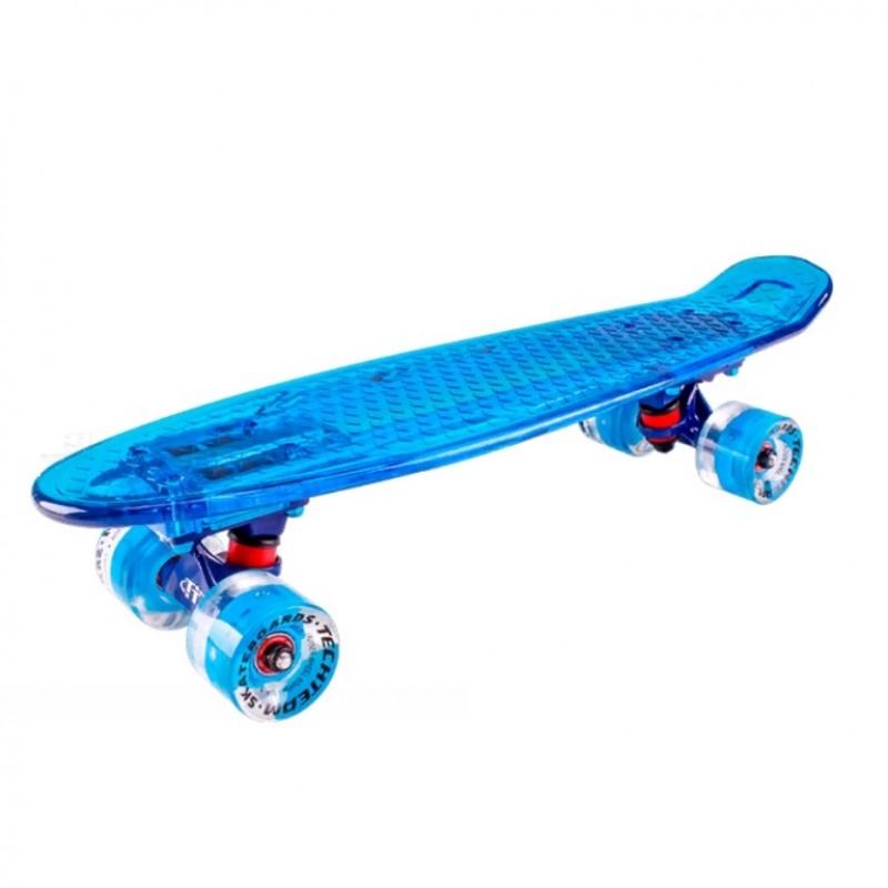 Скейтборд  ТТ  Transparent light 22  (6) TLS-403  blue со свет.