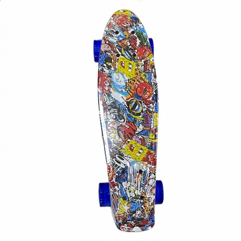 Скейтборд-пенниборд Explore Ecoline SURFER/6  Мультик Боб колеса синие