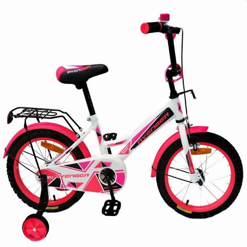 Велосипед 14  AVENGER NEW STAR, белый/розовый