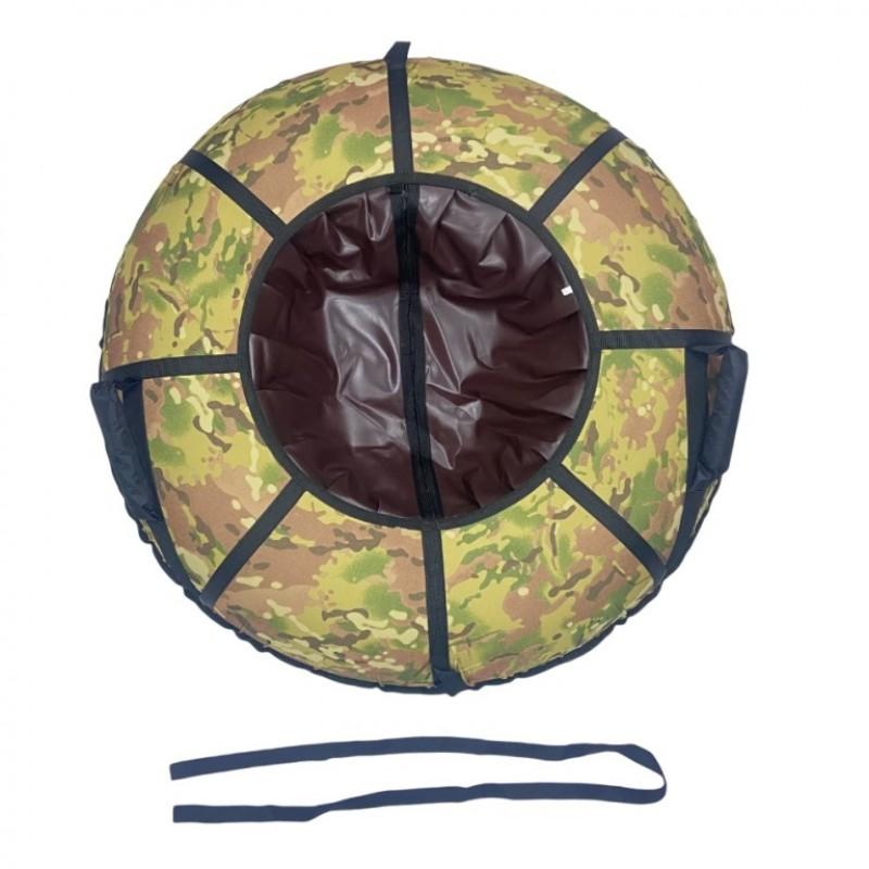 Тюбинг  CH-105-ГЛАМУР-Хаки камуфляж в черном 9, 1/10 со светоотражателями,цена с камерой д=105см new