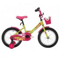 Велосипед 18 Novatrack Twist зелёный/розовый, АКЦИЯ!!! тормоз ножной крылья корот, полная защ.цепи, корзина