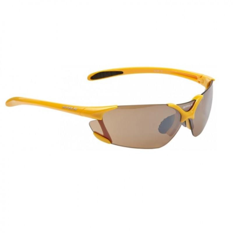 Велоочки 6216Y оправа жёлто-чёрн./линзы корич.зерк./мешоч.