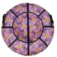 Тюбинг  CH- 85-ГЛАМУР-Бабочки розовый,1/10 с мягкими ручками,с замком,со светоотражателями,цена с камерой д=85см new