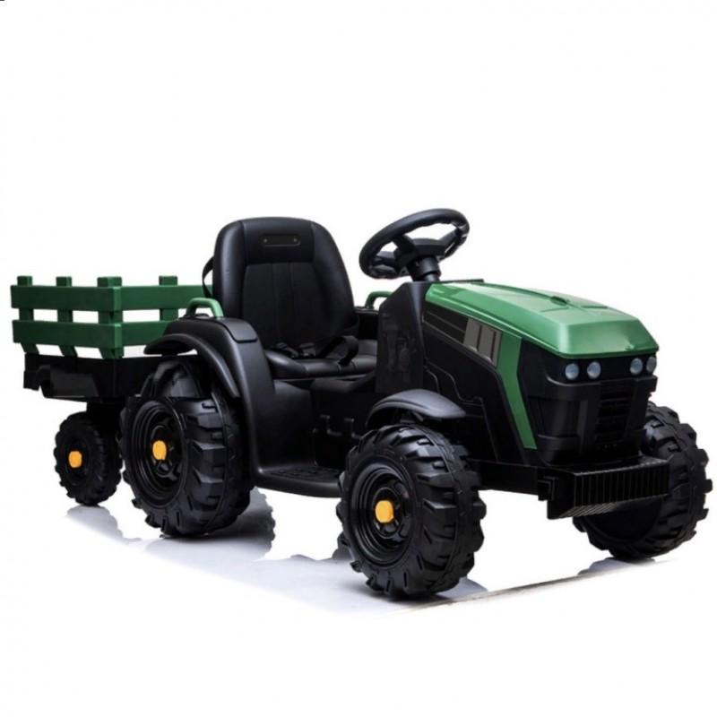 Детский электромобиль трактор TR 777,  50366 с прицепом зеленый (Р)