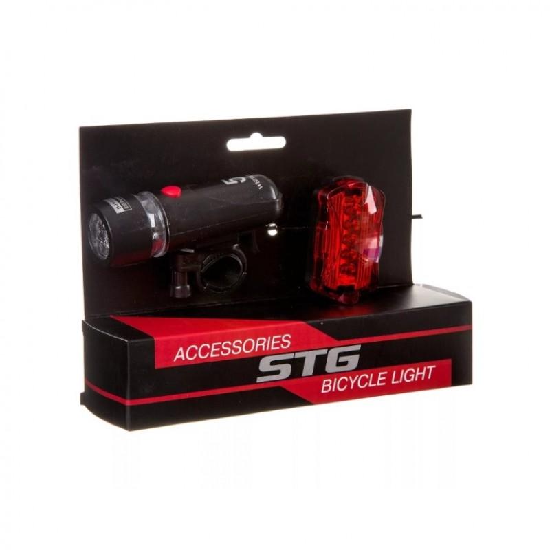 Фонарь X88369 STG комплект передний TL1503(5 бел. диодов,4*ААА в комплект не входит)+задний TL5388 (5 красных диодов с линзами,2*ААА в комплект не входит)