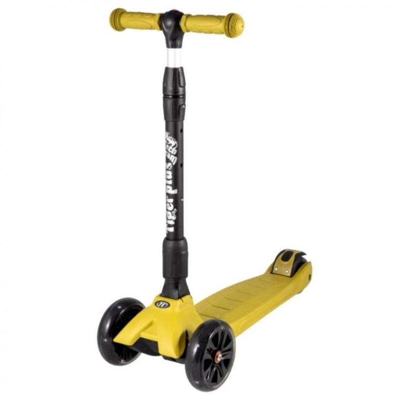Детский самокат Tech Team TIGER Plus 2020 (жёлтый) со светящимися колесами 1/4 (Р)
