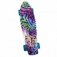 Скейтборд-пенниборд Explore Ecoline SURFER/6  Зебра-звезда колеса бирюзовые