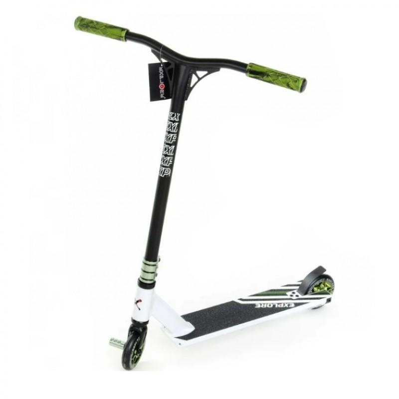 Самокат Трюковой Explore LEIDART GRANDE (Пеги в комплекте) Белый/зелёный