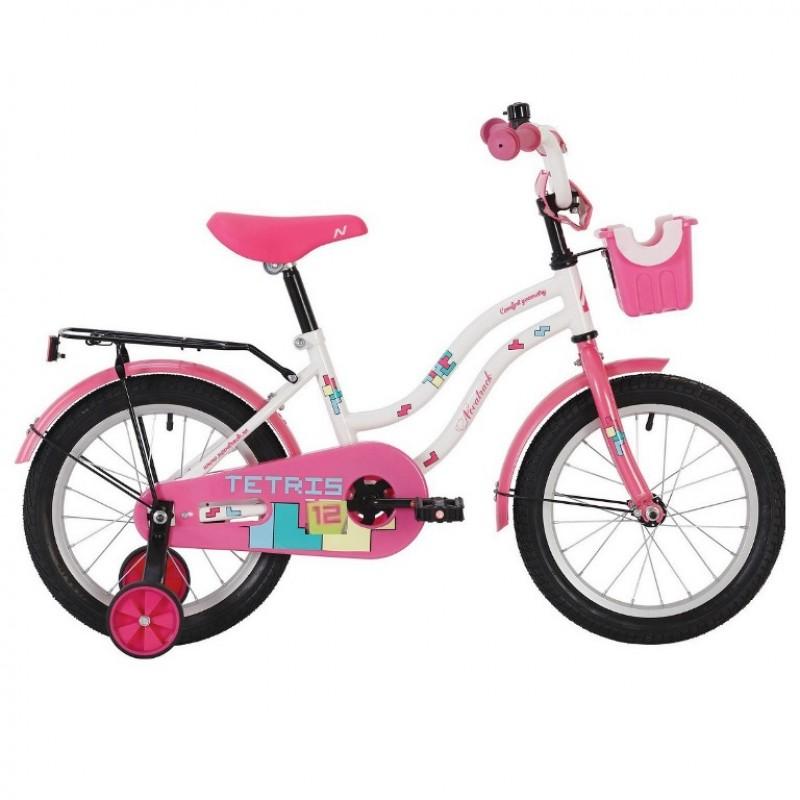 Велосипед 12 Novatrack Tetris белый,  АКЦИЯ!!! тормоз ножной,крылья цвет.,багажник чёрный., перед.корзина, полная защита цепи