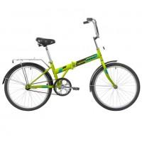 Велосипед 24 Novatrack складной, TG, зелёный, тормоз нож, двойной обод, багажник, сидение комфорт