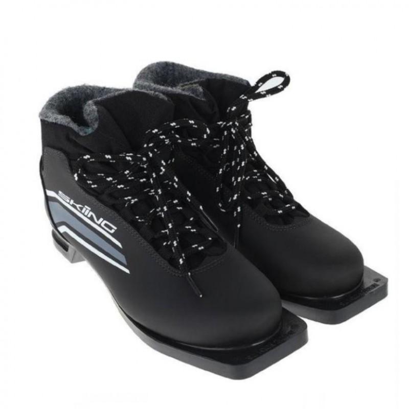 Ботинки лыжные  44р. 75мм TREK SkiingIK1 чёрный (лого серый)