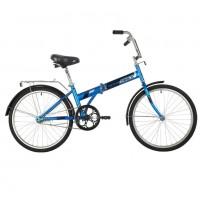 Велосипед 24 Novatrack складной, TG, синий, тормоз нож, двойной обод, багажник, сидение комфорт