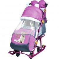 Санки коляска комбинированная «Ника детям 7-2» new светоотражающие элементы со щенком орхидея НД7-2