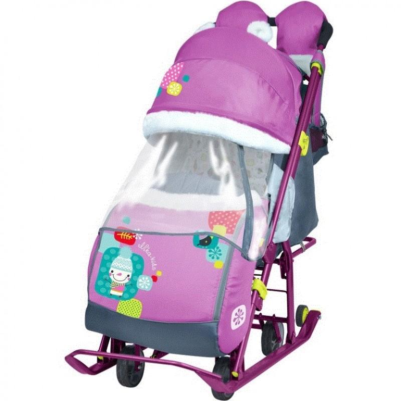 Санки коляска комбинированная Ника детям 7-2  new светоотражающие элементы со снеговиком орхидея НД7-2