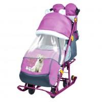 Санки коляска комбинированная «Ника детям 7-2» new светоотражающие элементы орхидеа-ДОГ