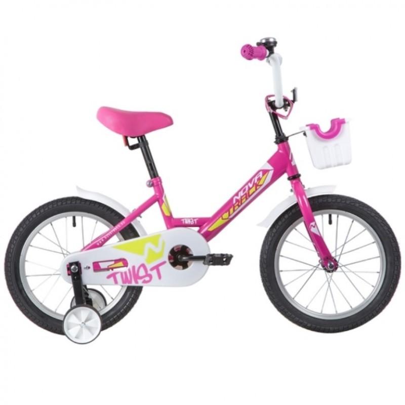 Велосипед 16 Novatrack Twist розовый, тормоз нож, крылья корот, полная защ.цепи, корзина