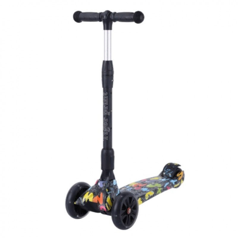 Детский самокат Tech Team TIGER Print 2021 (черный) со светящимися колесами 1/4