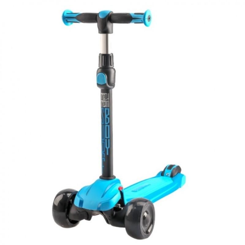 Детский самокат Tech Team SURF BOY 2020 (голубой) со светящимися колесами 1/4 (P)