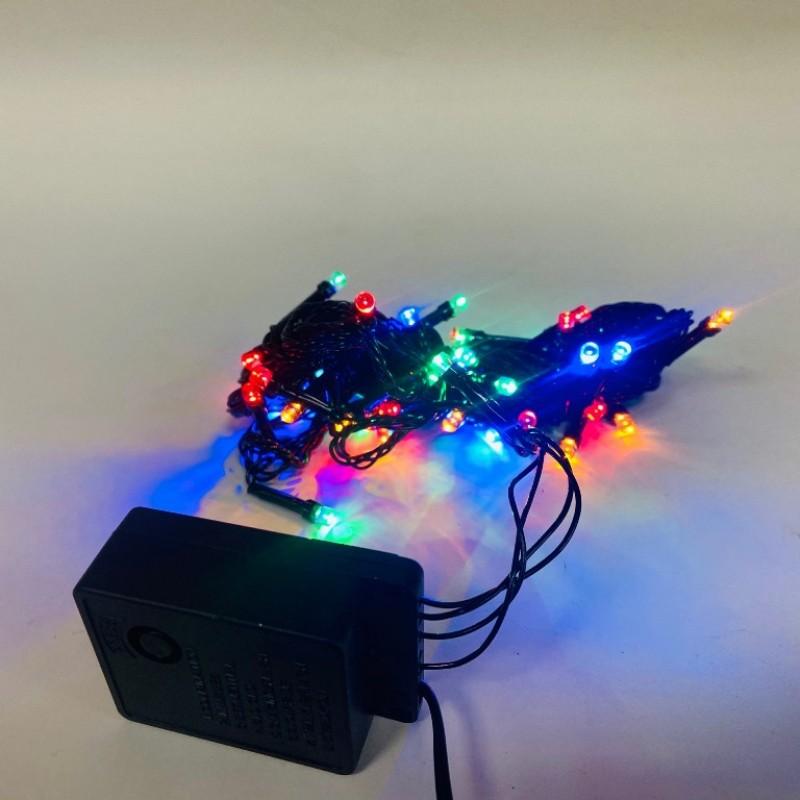 Гирлянда 100 ламп чёрная, цветной свет